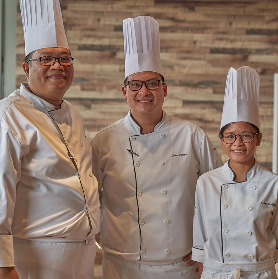 Chef Alwin Mantuano, Chef Enzo Campos, and Chef Nadine Madriga